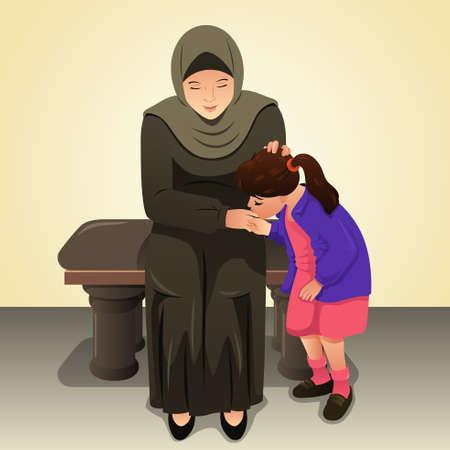 Ein Vektor-Illustration von Muslim Mädchen küssen ihre Mutter Hand Standard-Bild - 76782629