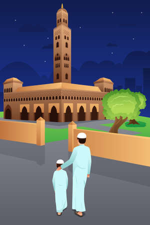 A vector illustration of Father and Son Going to Mosque