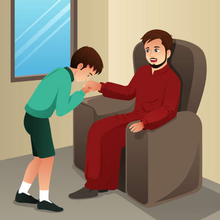 A vector illustration of Muslim Boy Kissing His Father Hand