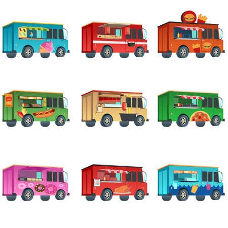 Een vectorillustratie van het kleurrijke ontwerp van het voedselvrachtwagenpictogram Stock Illustratie
