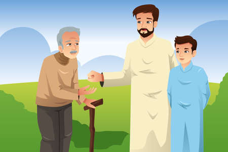 A vector illustration of Muslim Father and Son Giving Money to an Old Man