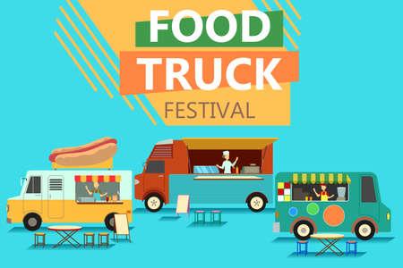 Una ilustración del vector del cartel del festival del camión de la comida de la calle Foto de archivo - 76782639