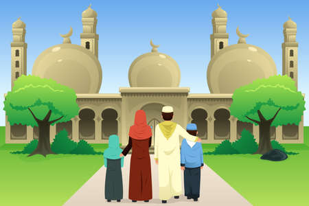 A vector illustration of Muslim Family Going to Mosque Ilustração