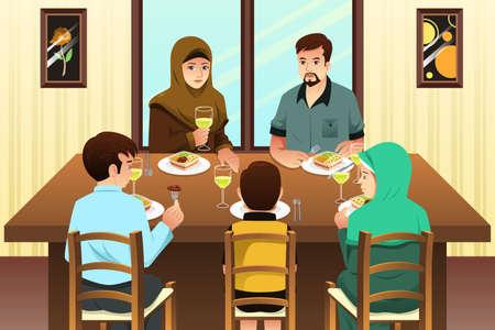 girl: A vector illustration of Muslim Family Eating Dinner at Home Illustration