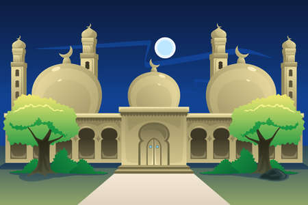 A vector illustration of Islamic Mosque at Night Time