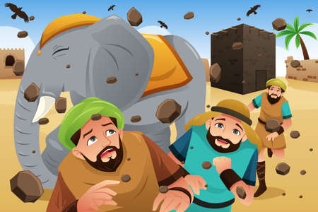 A vector illustration of Islam Story of the Owners of the Elephant Illustration