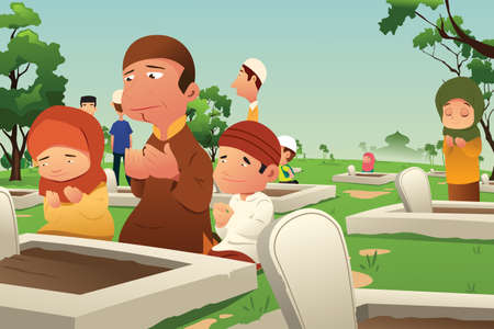 A vector illustration of Muslims Visiting and Praying at Cemetery 일러스트