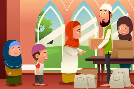 A vector illustration of Muslims Giving Donations to Poor People Illustration