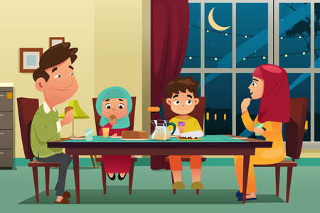 A vector illustration of Muslim Family Eating Dinner at Home Illustration