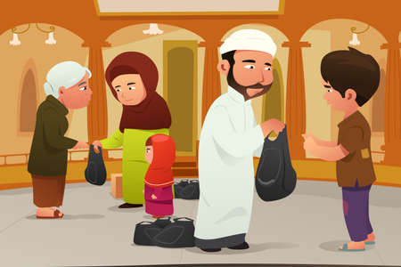 A vector illustration of Muslims Giving Donations to Poor People Çizim