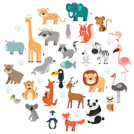 A vector illustration of Wildlife Animals Cartoon Set
