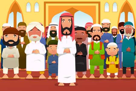 Una ilustración vectorial de los musulmanes orando en una mezquita Vectores