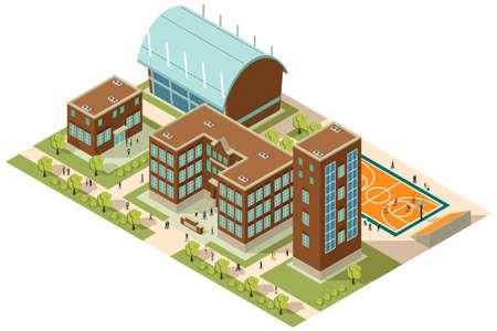 建物やサッカー場が等尺性の大学のキャンパスのベクトル イラスト