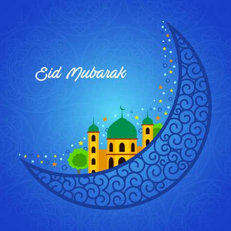 A vector illustration of Eid Mubarak greeting card design Ilustração