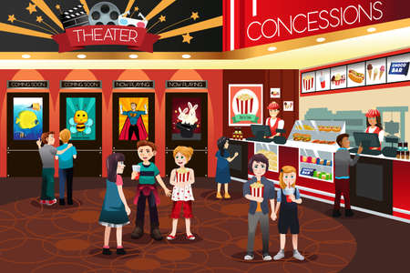 movie theater: A vector illustration of Children Going to Watch Movies