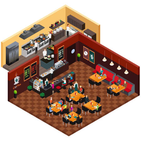 contemporary: A vector illustration of Isometric Design of a Restaurant