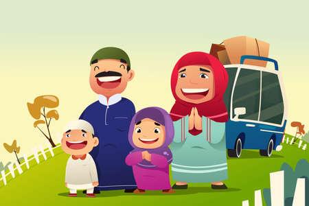 イスラム教徒の家族 Eid Al Fitri を祝うために家に帰るのベクトル イラスト