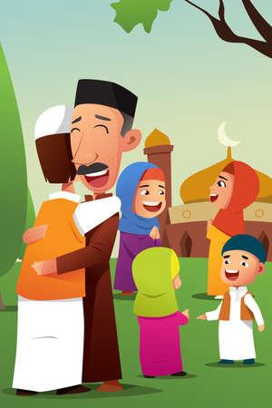 Une illustration vectorielle des musulmans célébrant Eid Al Fitr