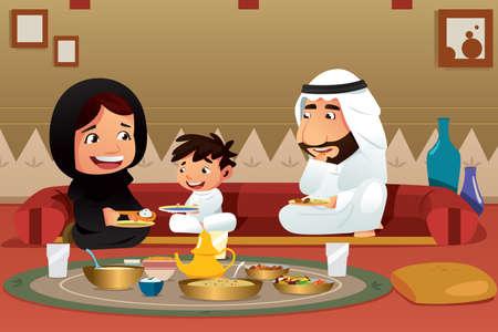 Une illustration vectorielle de la famille musulmane à la maison