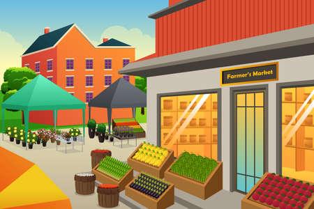 Une illustration vectorielle de l'environnement du marché des agriculteurs