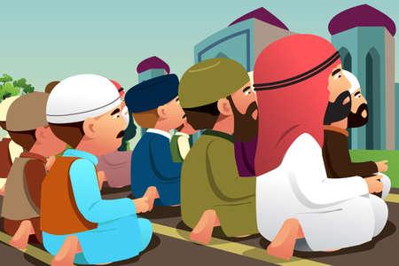 Une illustration vectorielle des musulmans priant dans une mosquée Illustration