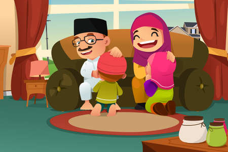 A vector illustration of Muslim Family Celebrating Eid Al Fitr