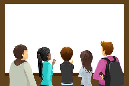 Une illustration vectorielle du groupe de personnes qui regardent Copyspace vierge