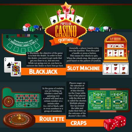Une illustration vectorielle des jeux de casino infographiques Illustration