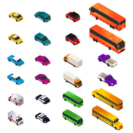 A vector illustration of Different Vehicle Designs in Isometric