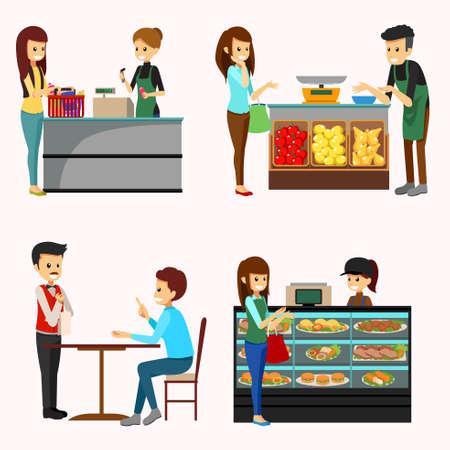 Wektorowa ilustracja ludzie Robi zakupy sklep spożywczy Cliparts