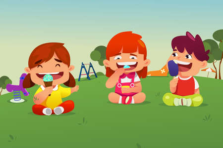 A vector illustration of Kids Eating Ice Cream in a Park