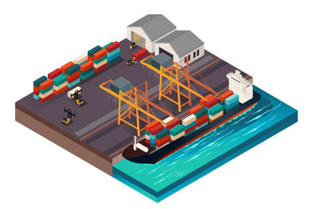 Une illustration vectorielle de la conception isométrique d'un port d'expédition Illustration