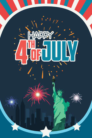 A vector illustration of Happy Fourth of July Poster