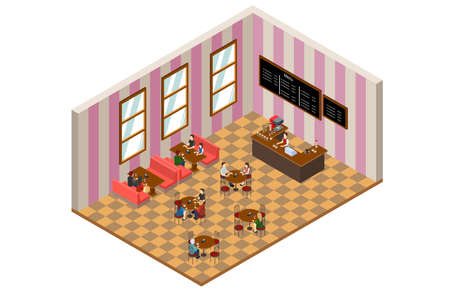 customer: A vector illustration of Isometric Design of a Cafe or Restaurant