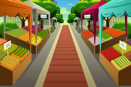 A vector illustration of Farmers Market Background Çizim