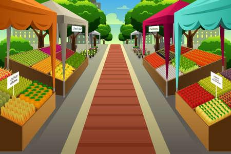 Illustrazione vettoriale di mercato degli agricoltori