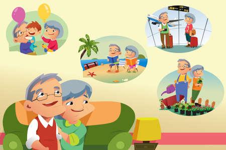 Una ilustración vectorial de Senior Pareja pensando en las actividades de jubilación Foto de archivo - 81455003