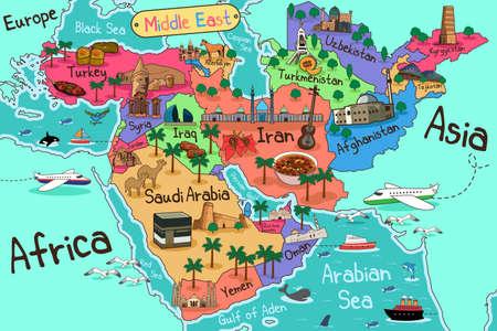 Une illustration vectorielle de la carte des pays du Moyen-Orient en style Cartoon