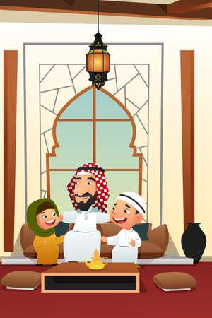 Une illustration vectorielle de l'homme arabe musulman avec ses enfants