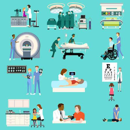 Une illustration vectorielle des activités de soins médicaux Cliparts