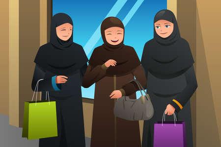 Une illustration vectorielle des femmes musulmanes qui marchent au centre commercial