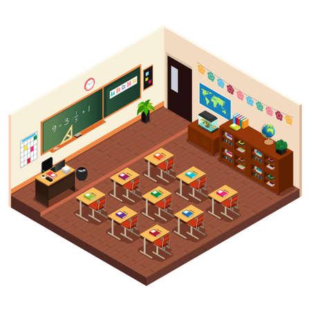 초등 학교 교실 아이소 메트릭의 벡터 일러스트 레이션