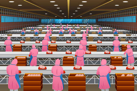A vector illustration of Factory Workers Working in a Poultry Processing Plant