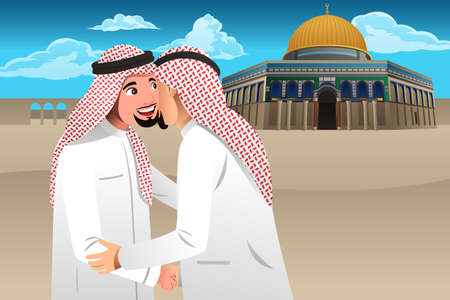 A vector illustration of Two Muslim Men Embracing Each Other