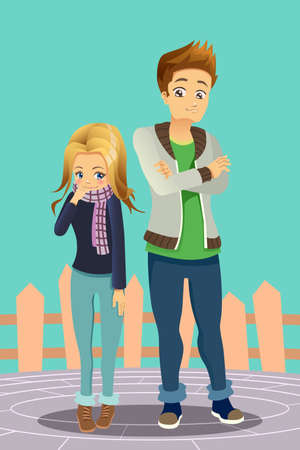 A vector illustration of a Young Couple Outdoor Иллюстрация
