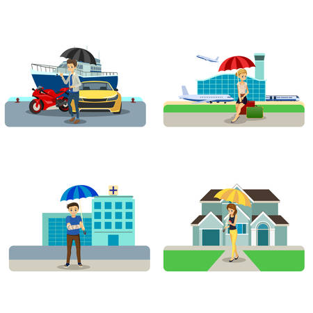 A vector illustration of Insurance Concept Cliparts Illustration