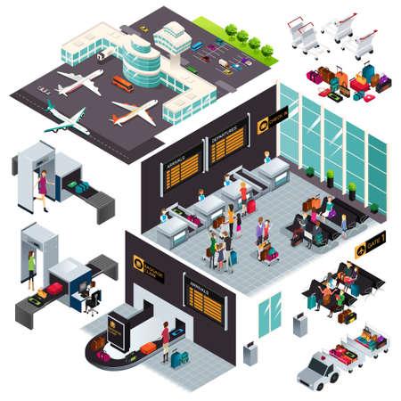 空港の等尺性のデザインのベクトル イラスト
