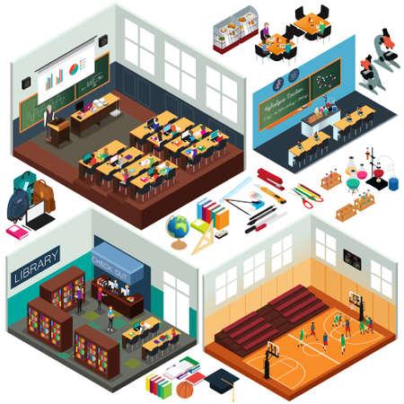 校舎等尺性デザインと教室のベクトル図  イラスト・ベクター素材