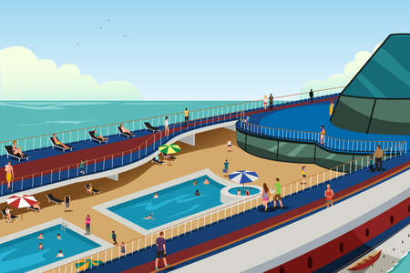 A vector illustration of People on Cruise Vacation Çizim