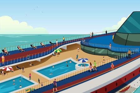 Una ilustración vectorial de la gente en las vacaciones de crucero Foto de archivo - 81743030